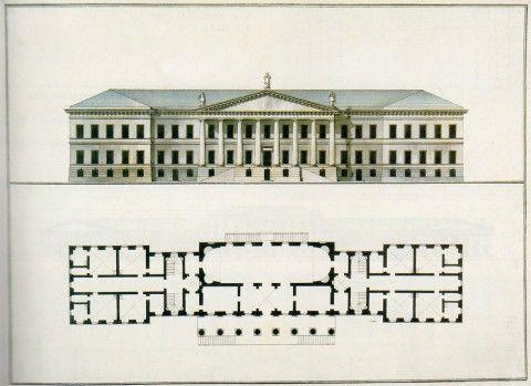 Кваренги Дж., Главный фасад и план первого этажа Академии наук.