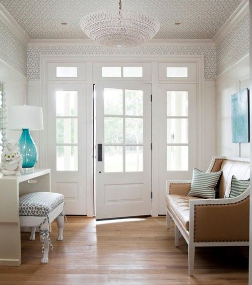 #entry #foyer #wallpaper #ceiling #white #panelling #console