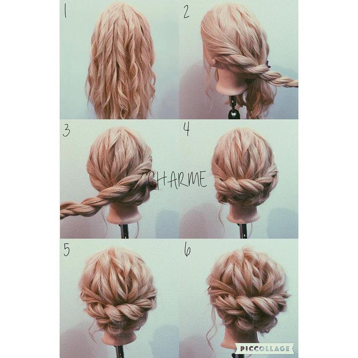 Hair arrange ~昨日の解説~ 1.ベース巻き。 2.センターで髪を2つに分けます。 そしたら顔周りからロープ編み込みをしていきます。 ※2つに分けたところまででいいです。 3.耳下にピニングします。 そしたら反対側も同じ様にします。 4.こんな感じです。 5~6.崩して完成です☆彡.。 ベース巻きをする事によってより立体的に崩せるのでオススメです。 簡単に出来るスタイルだと思うので覚えてみて下さい! 参考になれば光栄です(^^) #Hairarrange#ヘアアレンジ#アレンジ#ヘアメイク#メイク#ヘアセット#セット#スタイル#アップ#編み込み#編み込みやり方#波ウェーブ#崩し方#ヘアアレンジ動画#ミディアム#ヘアアレンジ解説#アレンジやり方#簡単アレンジ#くるりんぱ#オシャレ#お洒落#かわいい#山梨#甲府#美容#美容院#美容師#CHARME#河西#わさお