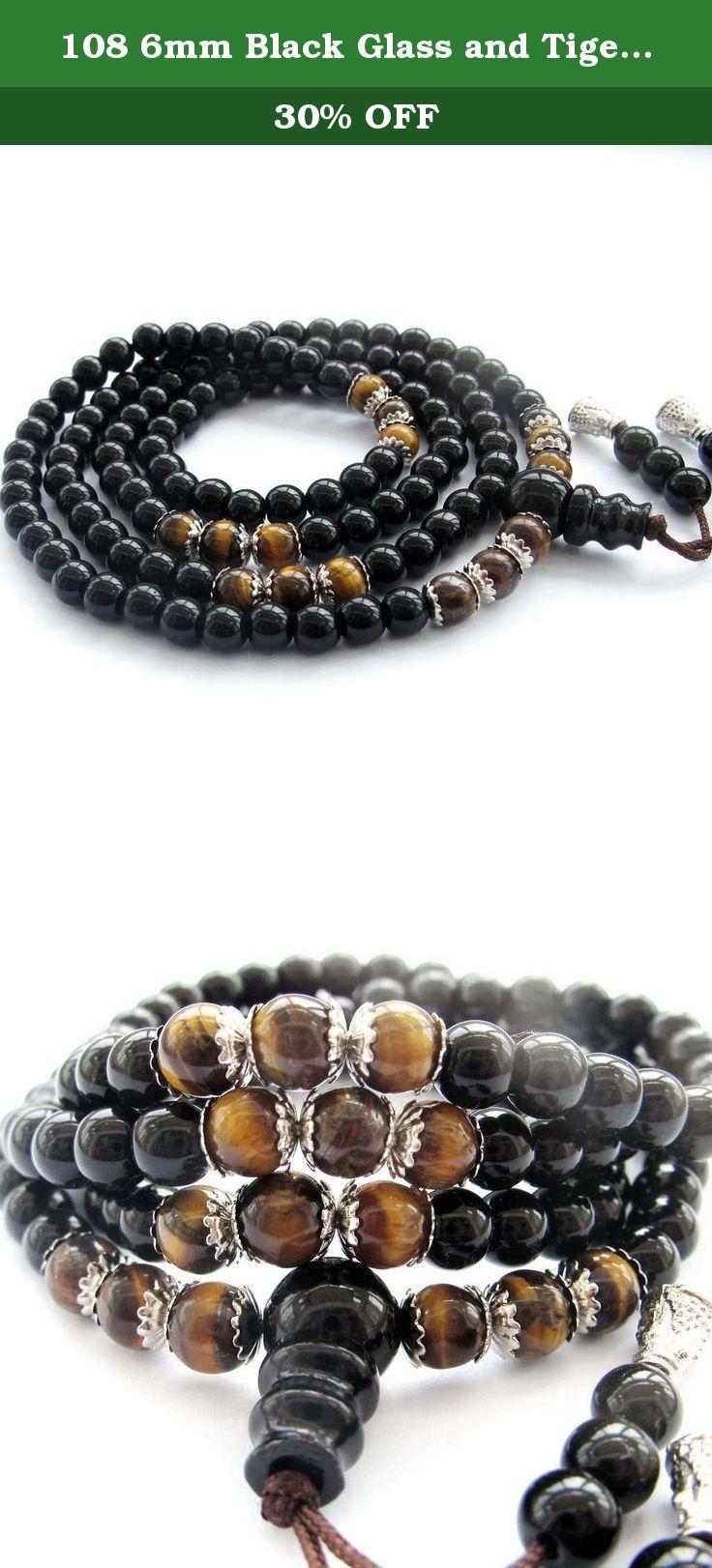 108 6mm Black Glass and Tiger Eye Beads Tibetan Buddhist Prayer Mala Necklace or Wrist Mala. 108 6mm Black Glass and Tiger Eye Beads Tibetan Buddhist Prayer Mala Necklace or Wrist Mala.
