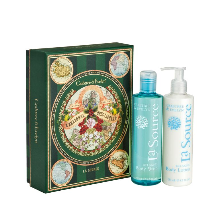 Our La Source Body Wash and La Source Body Lotion are enriched with calming marine essences and come conveniently paired in a festive and bold botanical gift box. Brilliant for family or friends, or simply for your lovely self.