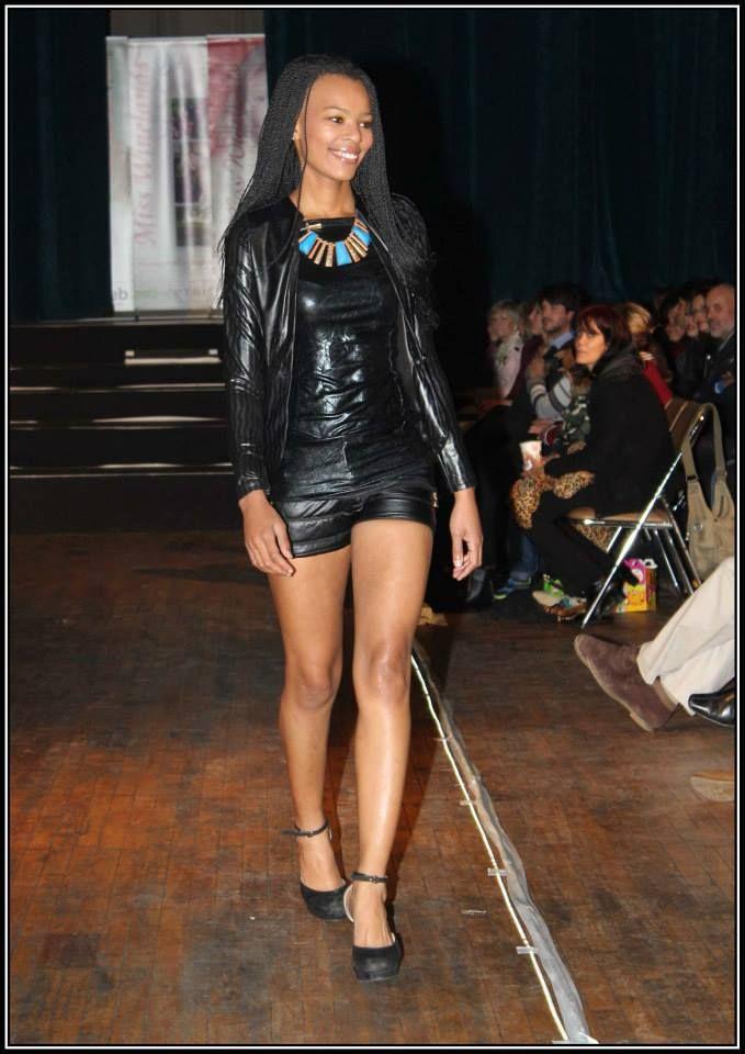 Black fitted jacket - R370 Black metallic top - R500 Black leather short - R350