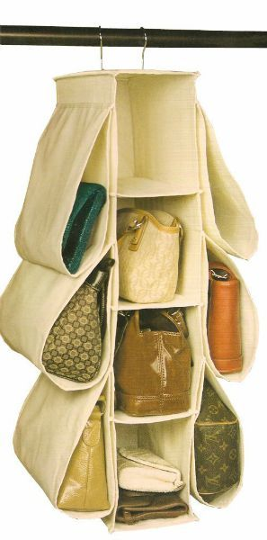 Hanging closet purse organizer with pockets, plus lots of other purse  storage ideas {featured