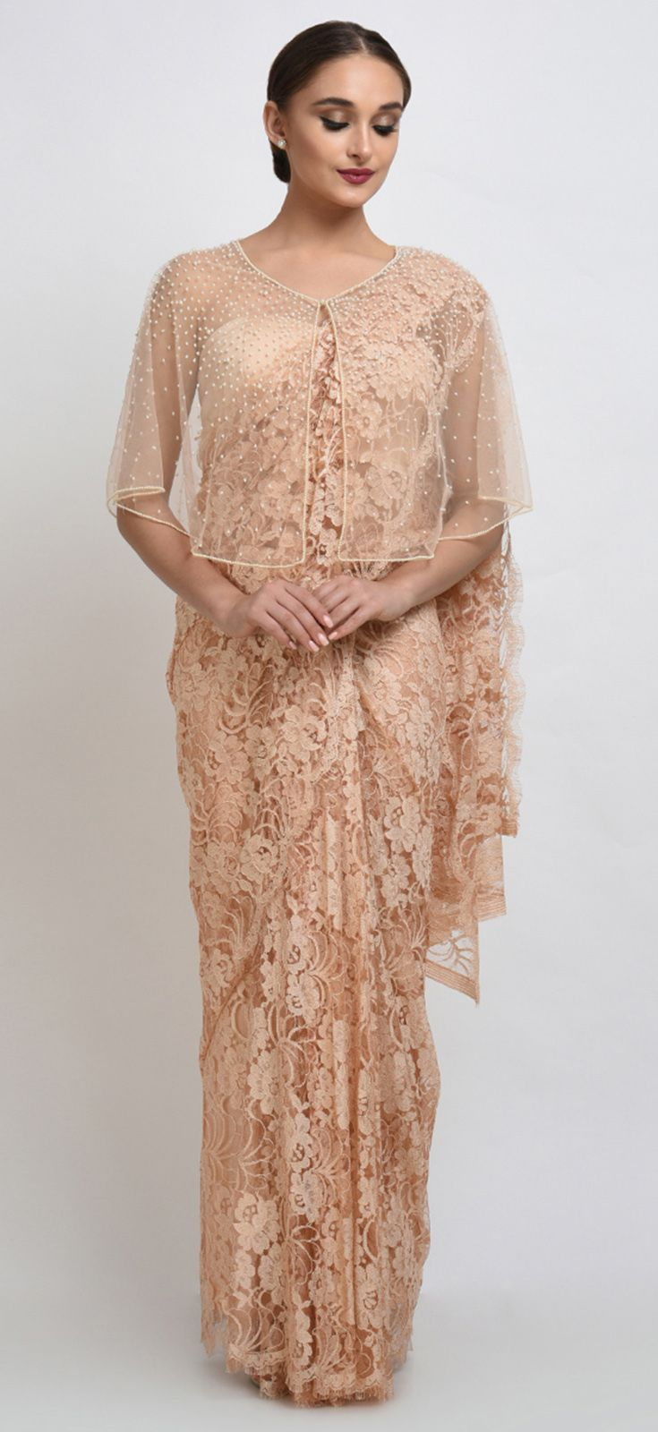 e3dc21900971e Nude French Chantilly Lace Saree With Pearl Beaded Cape And Blouse ...
