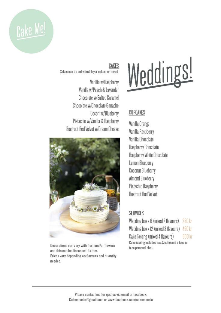 Cake Me! Oslo Wedding Menu now  ready.   www.facebook.com/cakemeoslo