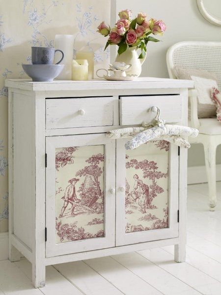 ⚜•⚜• Beautiful combo of Toile & the Shabby style ● Papered Cabinet