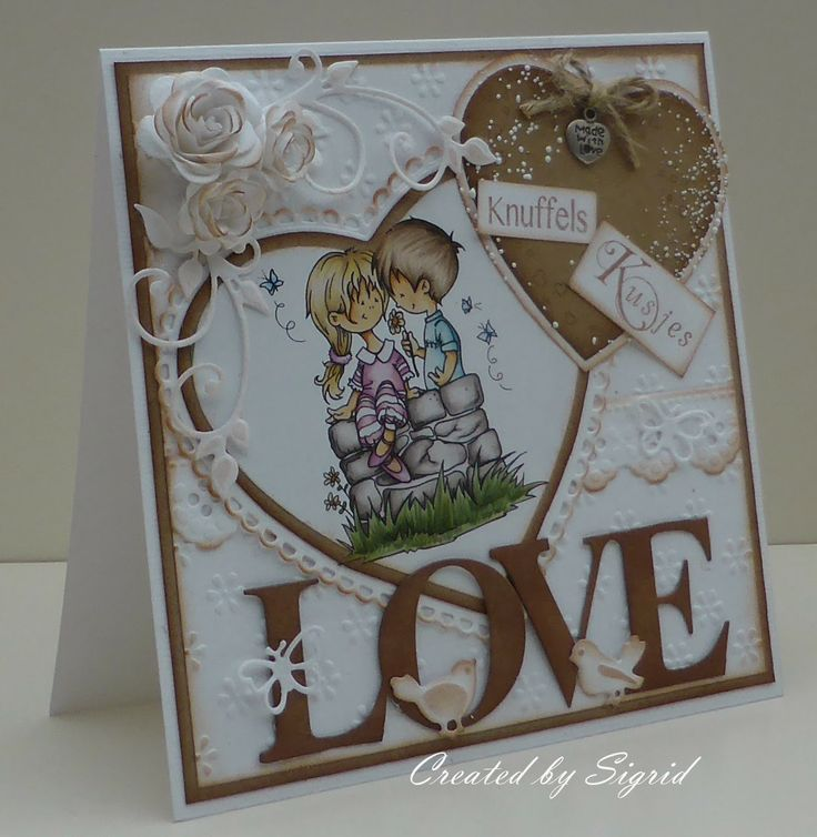 Card by DT member Sigrid with among others Craftables CR1225 Heart and Creatables LR0301 LOVE by Marianne Design