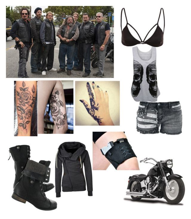 """""""Being the only crow eater who works in the garage with the guys/ sons of anarchy"""" by anita-rubin ❤ liked on Polyvore featuring WearAll"""