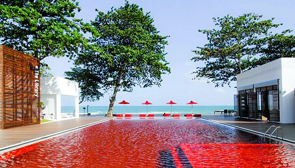 The Library Koh Samui, Thailand: Swimming Pools, Kohsamui, Swim Pools, Libraries Hotels, Koh Samui Thailand, Red Pools, Travel, Places, Design Hotel