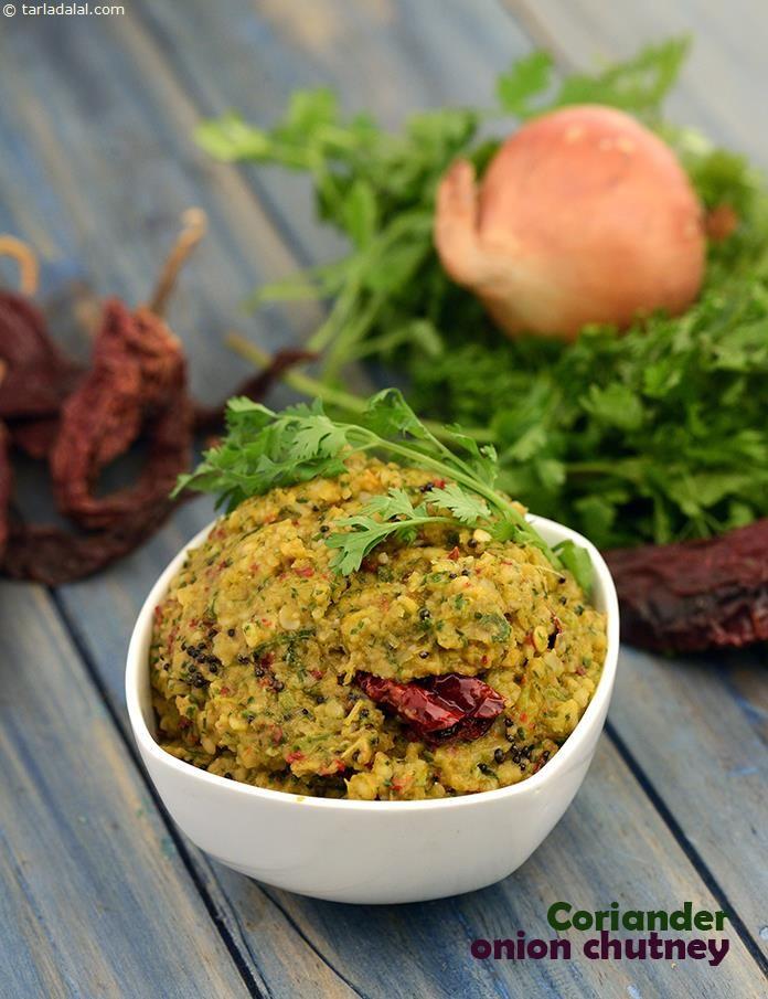 Coriander Onion Chutney recipe   Idli Recipes, Dosa Recipes   by Tarla Dalal   Tarladalal.com   #1655