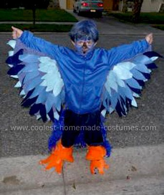 My 6 yr son wanted to be a Blue Bird for Halloween.  I was obsessed about it for months trying to figure out how to do it and not make it too foofy.  After