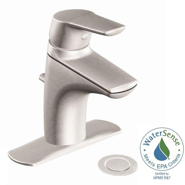 MOEN Method Single Hole Single Handle Bathroom Faucet in Brushed Nickel - 6810BN - The Home Depot