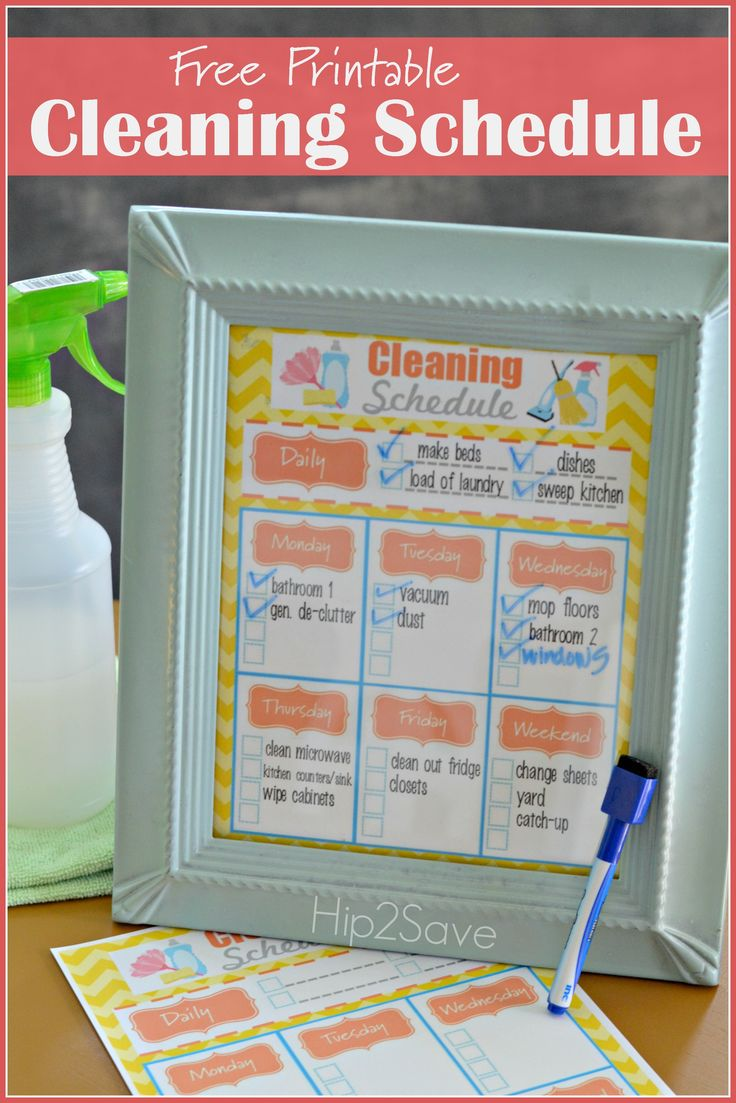 Free Printable Weekly Cleaning Schedule (+ Homemade All-Natural Counter & Surface Cleaner Recipe) – Hip2Save