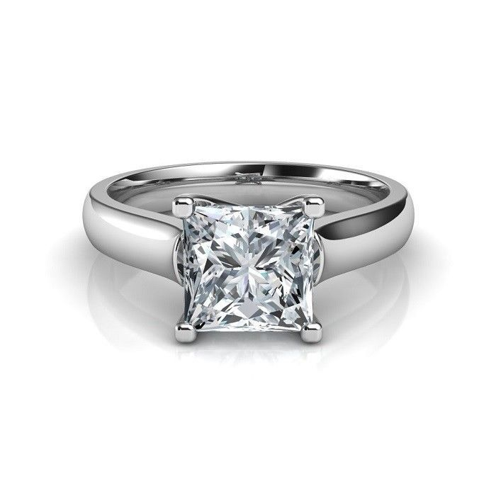 2.50Ct Princess Cut Diamond Prong Luxury Engagement  Ring 925 Sterling Silver  #OpenStore5 #SolitairewithAccents