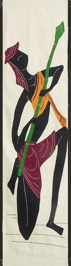 Tribal Hunter - (Wall Hanging) (Applique Work on  Cotton Cloth)