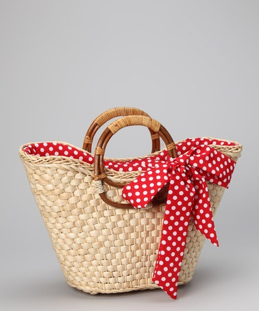 Take a look at this Straw Studios Red Polka Dot Straw Tote by Straw Studios on #zulily today!