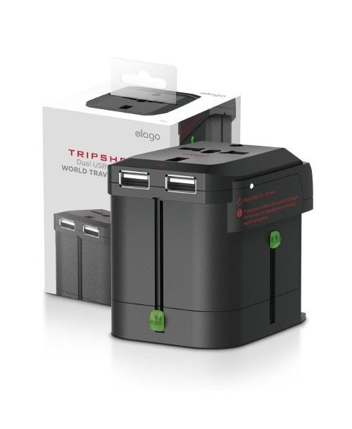 Tripshell WORLD TRAVEL ADAPTER (Built-in Dual USB)