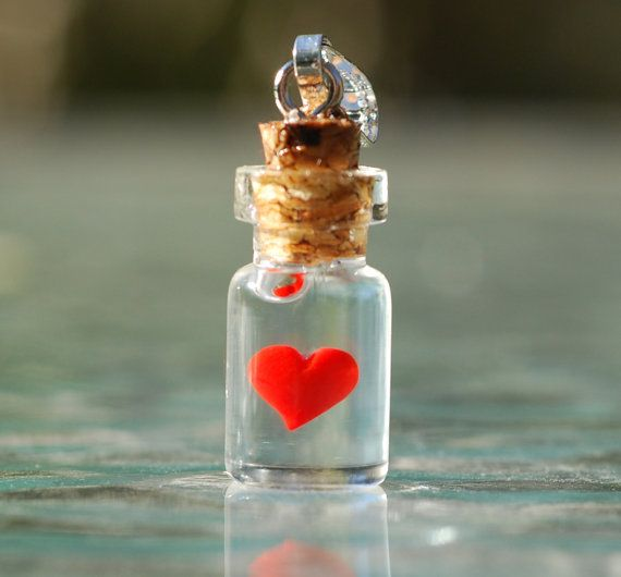 Heart in tiny bottle pendant with necklace. by jen4eternity