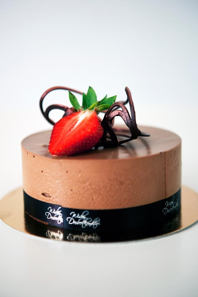 Chocolate Mousse Cake with Strawberry and Rhubarb Compote Recipe