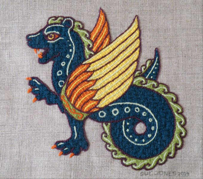 Wool embroidery - Dragon - Stitched by Sue Jones, designed by Tanja Betham.