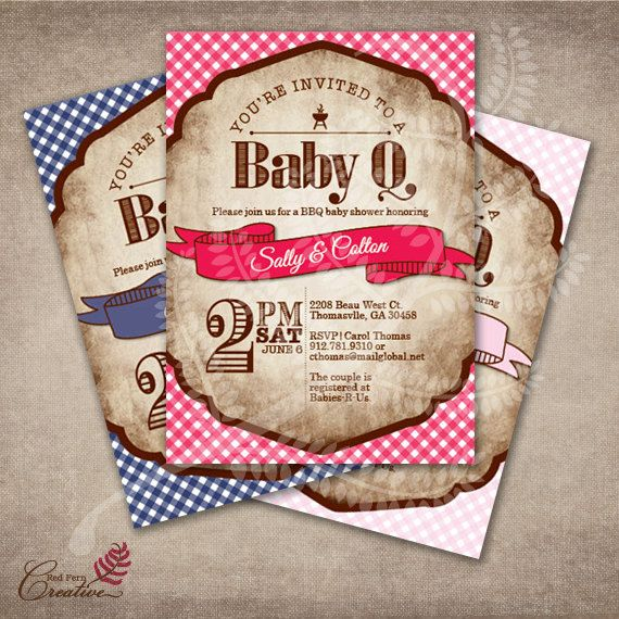 O'Baby Brand Baby Q Invitations for BBQ Baby Shower by OBabyBBQ