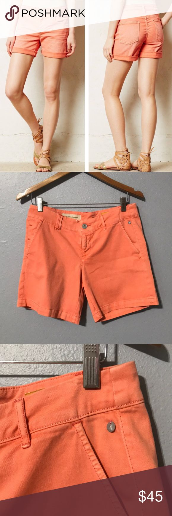 "Pilcro and the letterpress Coral Shorts Pilcro and the letterpress by Anthropologie. Gently preloved condition with no rips or stains. 4"" inseam. Please see all photos for accurate description of condition. Happy to answer any questions. Anthropologie Shorts"