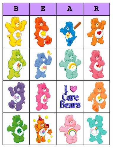 care bears bingo, my gd is so into care bears