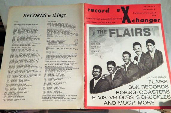 RECORD EXCHANGER MAGAZINE #2 February 1973, Flairs Cover, Rare Vinyl Records & History of Rock and Roll, R and B on Atlantic,Very Rare Item