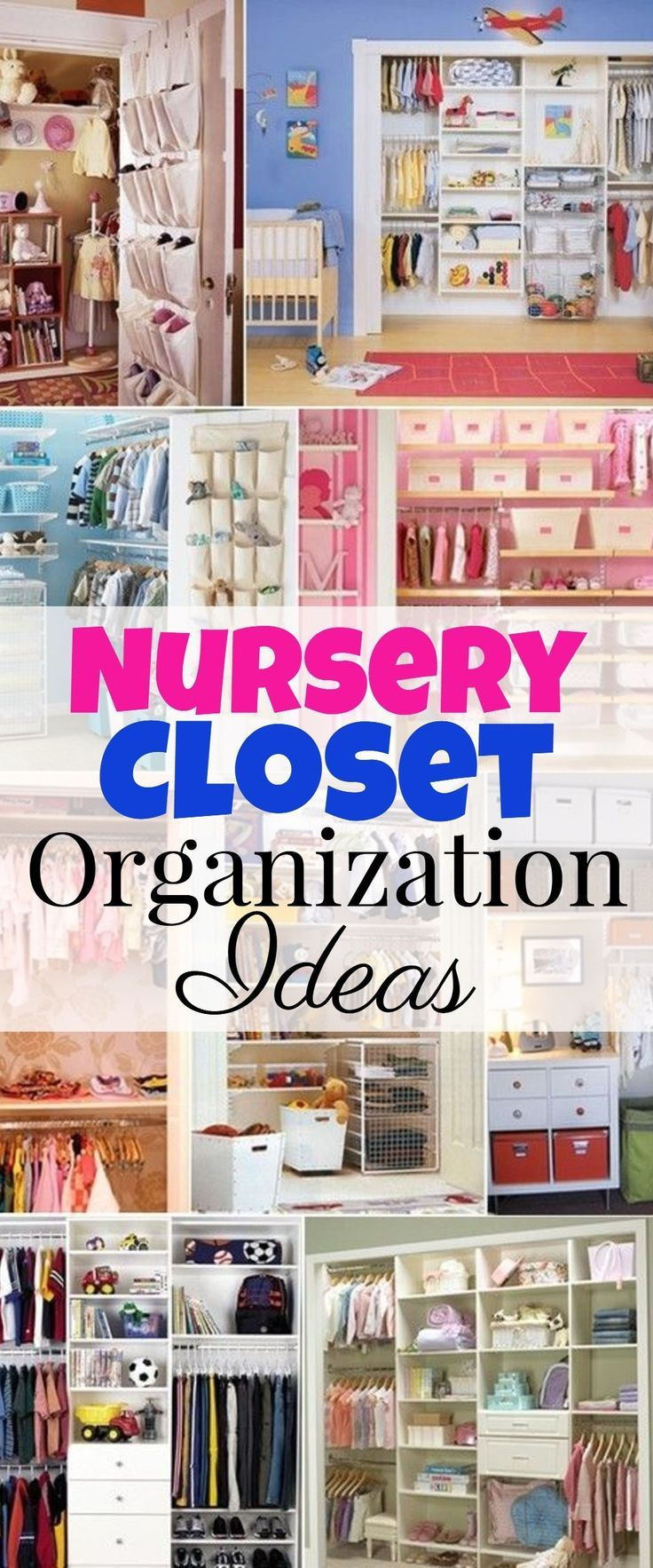 Nursery closet organization tips and ideas - great hacks, DIY ideas, and storage tips for organizing the baby room closet.  Great ideas for big and small closets.
