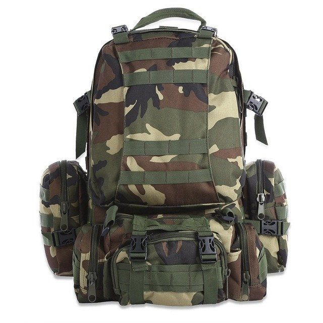 50L Multifunction Sport Bag Molle Tactical Bag Water Resistant Camouflage Backpack