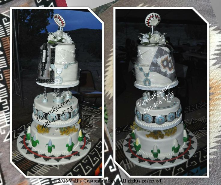 4 Tier Cake Adorned With Grammas Navajo Rug Designs And Edible Jewelry
