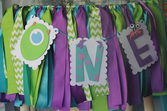 MOnster Inc one birthday highchair banner by TrixCloset on Etsy