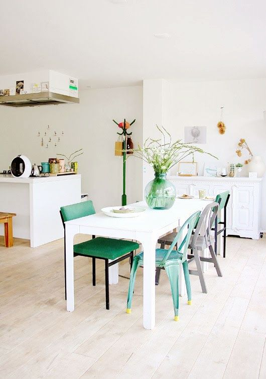 DINING: white table mixed color chairs