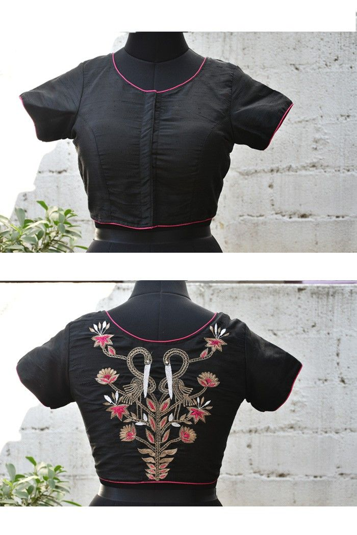 Black raw silk hand embroidered blouse