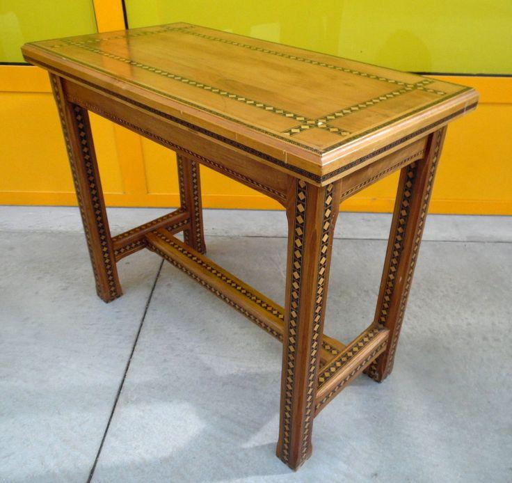 Tavolino - sgabello da pianoforte metà '900 intarsiato