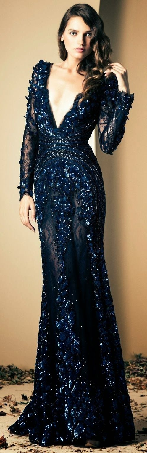 Navy embroidered gown