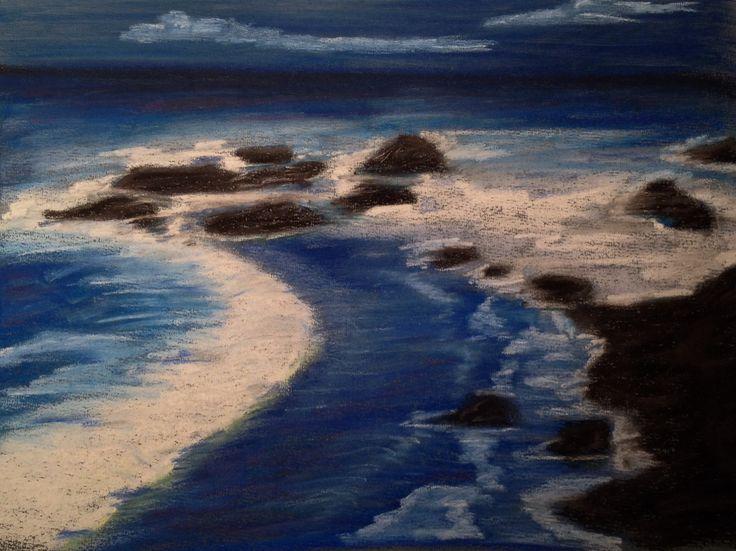 Seascape. Soft pastel on Canson paper, 24x30 cm. Sandy Rosenvinge Lundbye.