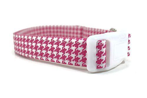 Designer Dog Collar Fully Adjustable Collars Come in Three Sizes for Small Medium 34 and Large 1 Dogs Pink Houndstooth Design is 100 Cotton Lined with Extra Strength Stitching * Want additional info? Click on the image.