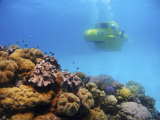 FAR NORTH QUEENSLAND.Seeing the Great Barrier Reef . Pictured above: A yellow submarine takes passengers on reef tours.