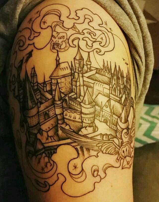 Tattoo castillo harry potter tattoo blanco y negro for Charleston tattoo artists