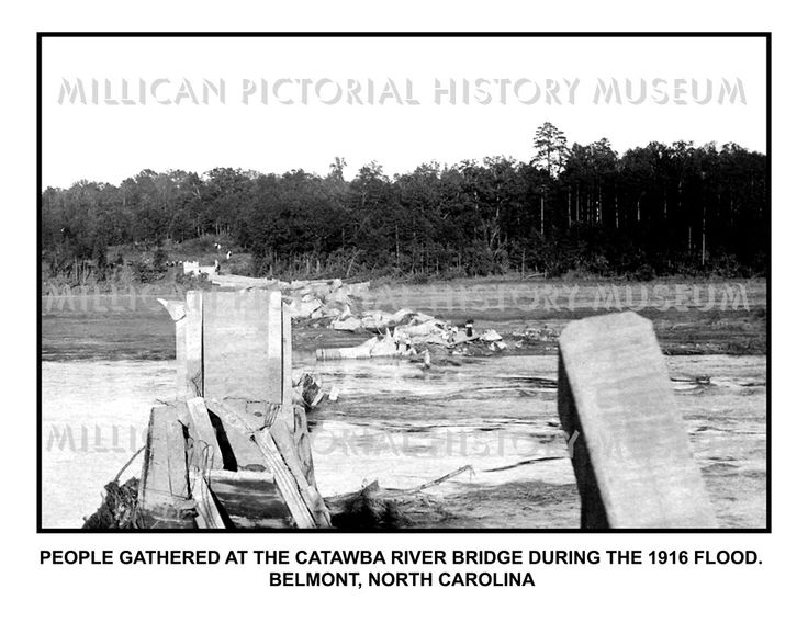 People gathered at The Catawba River Bridge during The 1916 Flood. Belmont, North Carolina – Millican Pictorial History Museum