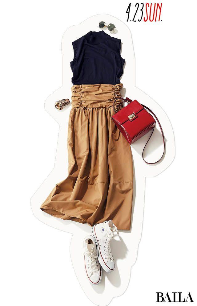 今年のトレンドスタイルのポイントは、ウエストマーク! ファッションの鮮度を思いっきり上げて楽しめる休日は、ウエストに技ありなデザインがあるスカートを。スカートにインパクトがあるぶん、トップスは控えめデザインにするとバランスがよくなります。ビビットな赤のきれいめバッグを指せば、今っ・・・