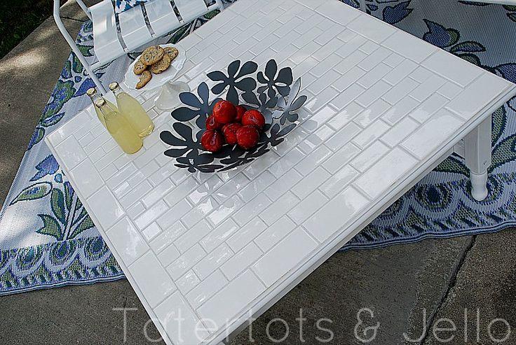 Subway tile table DIY