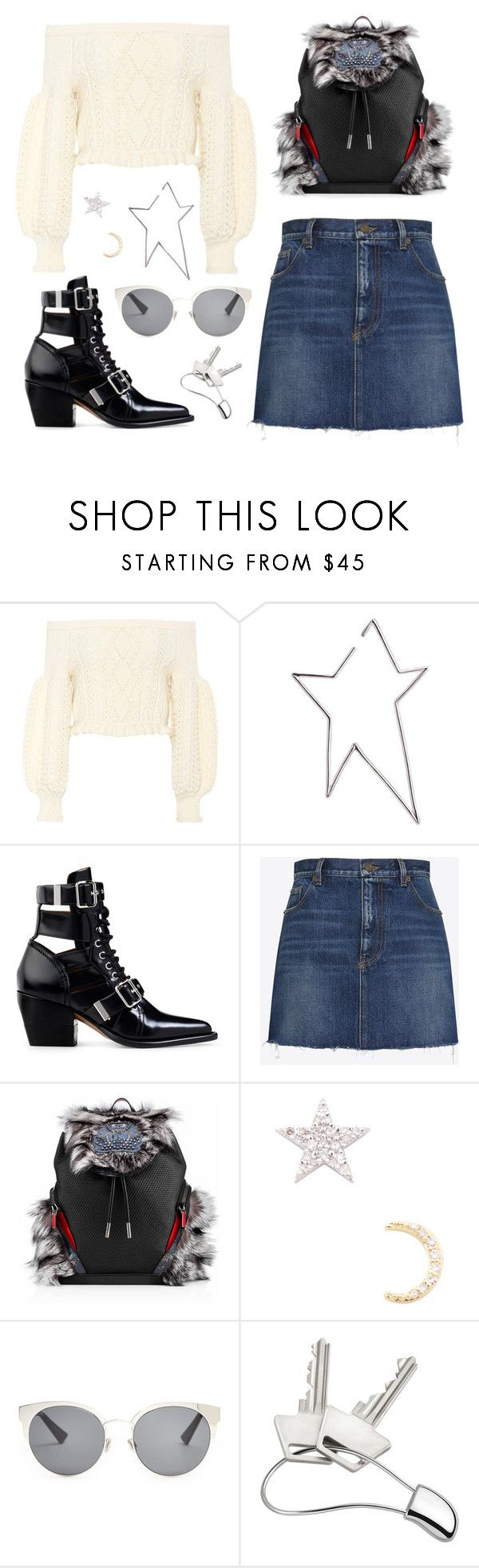 """""""Dream 198"""" by sleepyface ❤ liked on Polyvore featuring Valentino, Jennifer Fisher, Chloé, Yves Saint Laurent, Christian Louboutin, Christian Dior and Georg Jensen"""