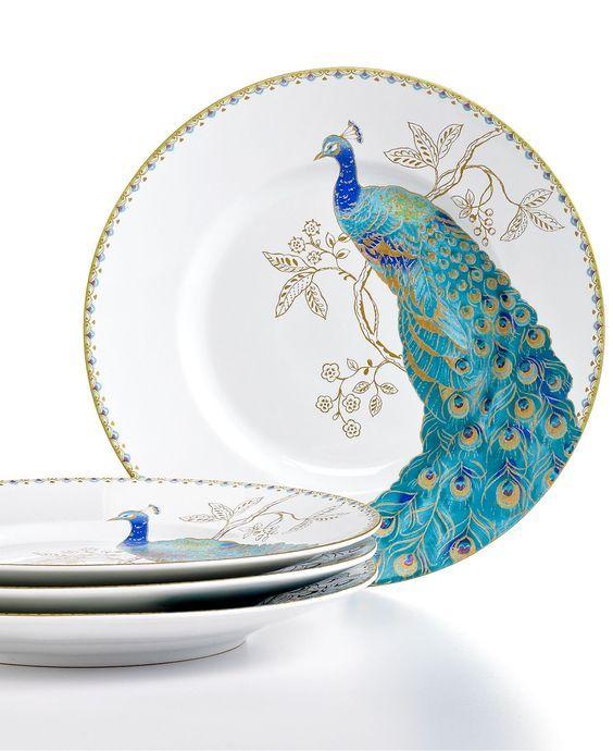 222 Fifth Dinnerware, Set of 4 Peacock Garden Salad Plates – Casual Dinnerware – Dining