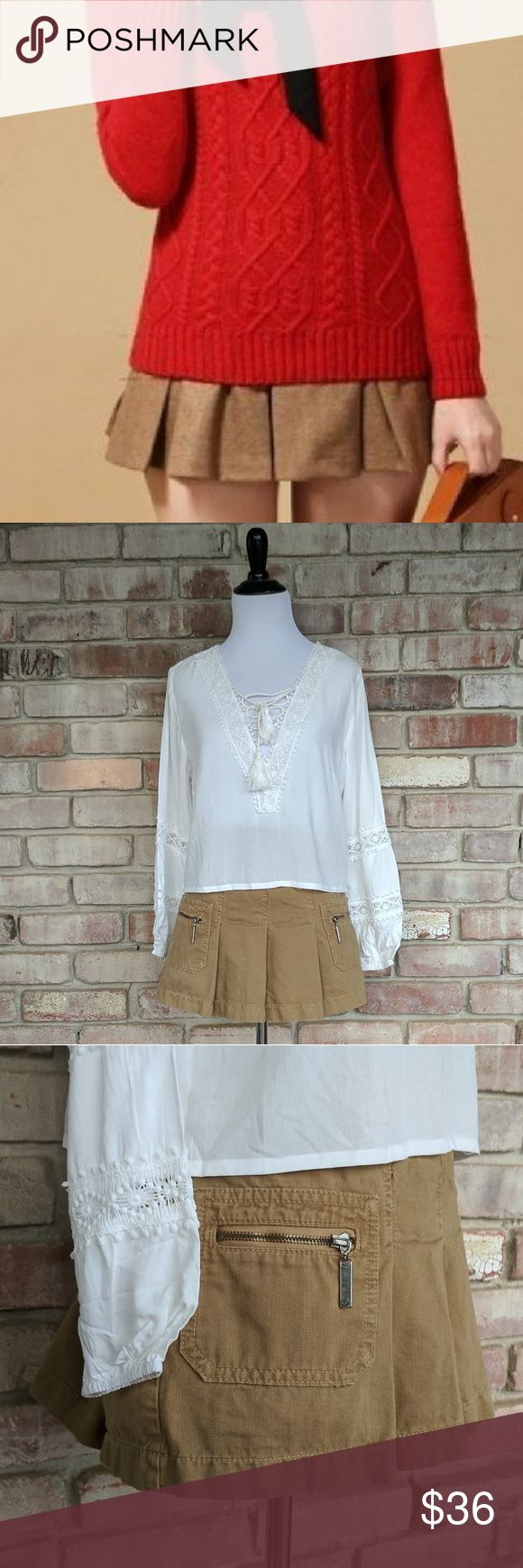 Juicy Couture Pleated Khaki Skirt Adorable pleated schoolgirl uniform style skirt by Juicy Couture. Excellent worn condition! Size small.  Ask me about free shipping! Juicy Couture Skirts Mini