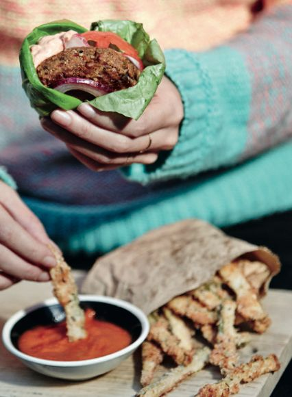 Comfort food that's good for you: Feta and Black Bean Burgers, Courgette Fries and Probiotic Ketchup. Find all of the recipes in The Art Of Eating Well.