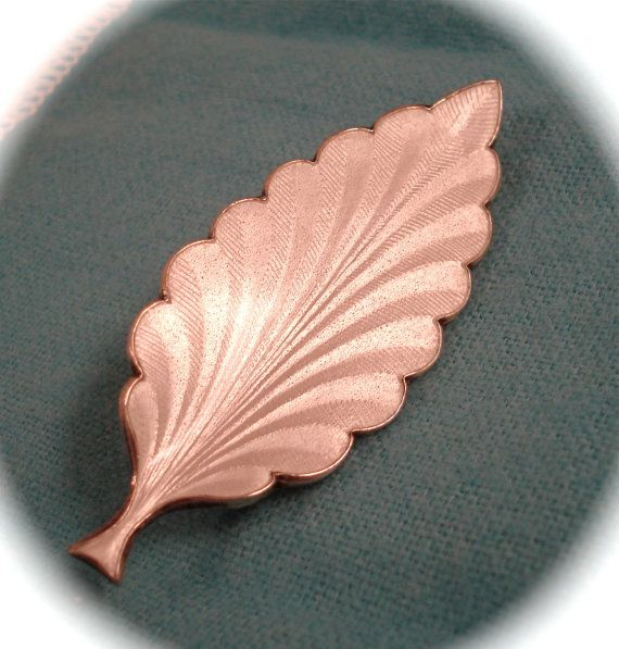 Vintage STERLING NORWAY PIN Finn Jensen Norway Gilt Sterling Silver Snow White Guilloche Enamel Modernist Leaf Form Pin Brooch on Etsy, $36.04
