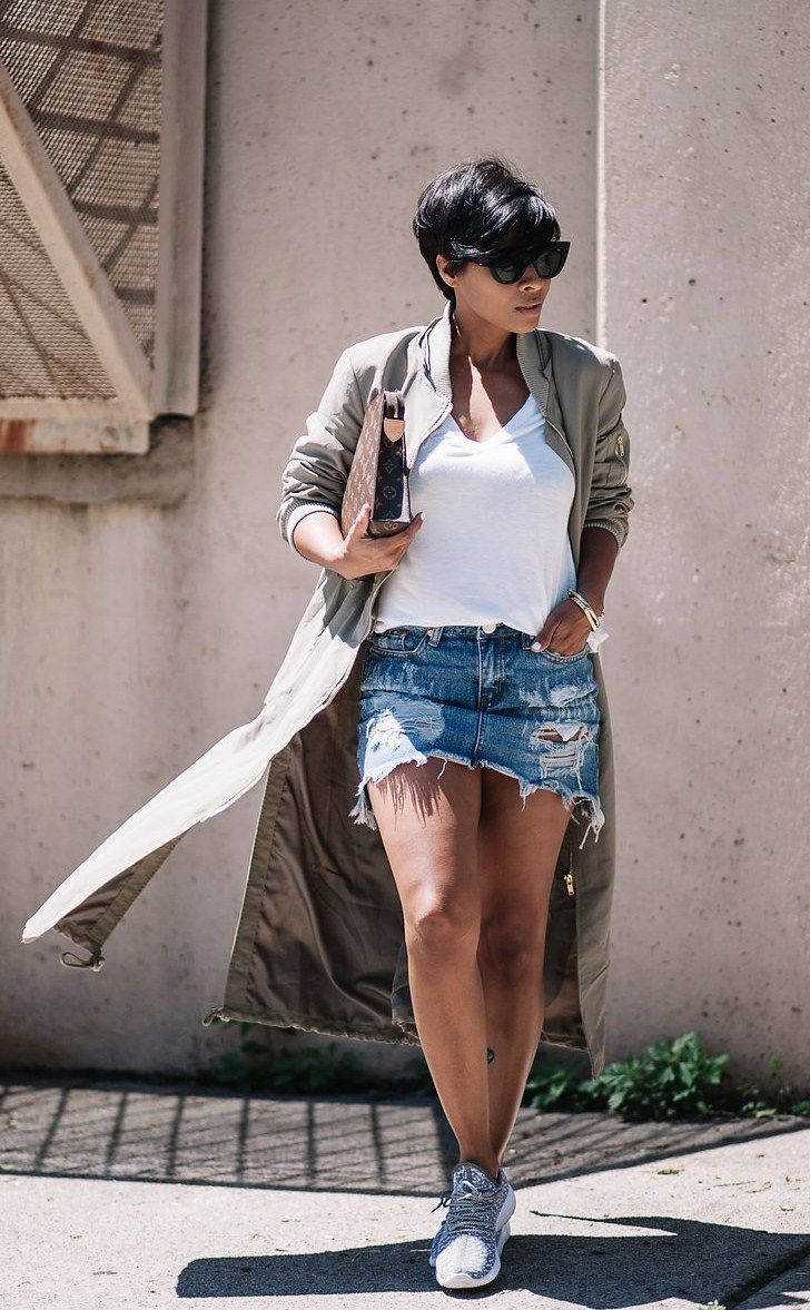 Rocking Mini SKIRT DENIM WINDSOR STORE SNEAKERS WHITE CLASSIC TEE BOMBER TRENCH (EVERYTHING WINDSOR) Fashion Look by Kyrzayda