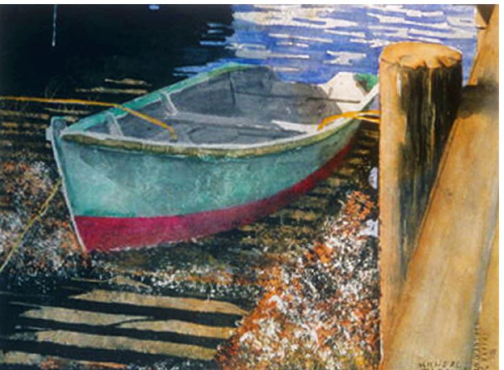 """red n viridian dory onshore 11"""" x 15' micheal zarowsky  watercolour on arches paper"""